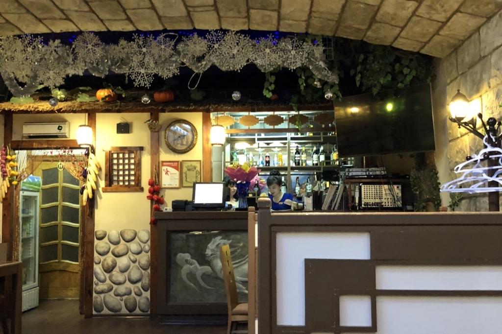 ウラジオストクの北朝鮮レストラン店内の様子