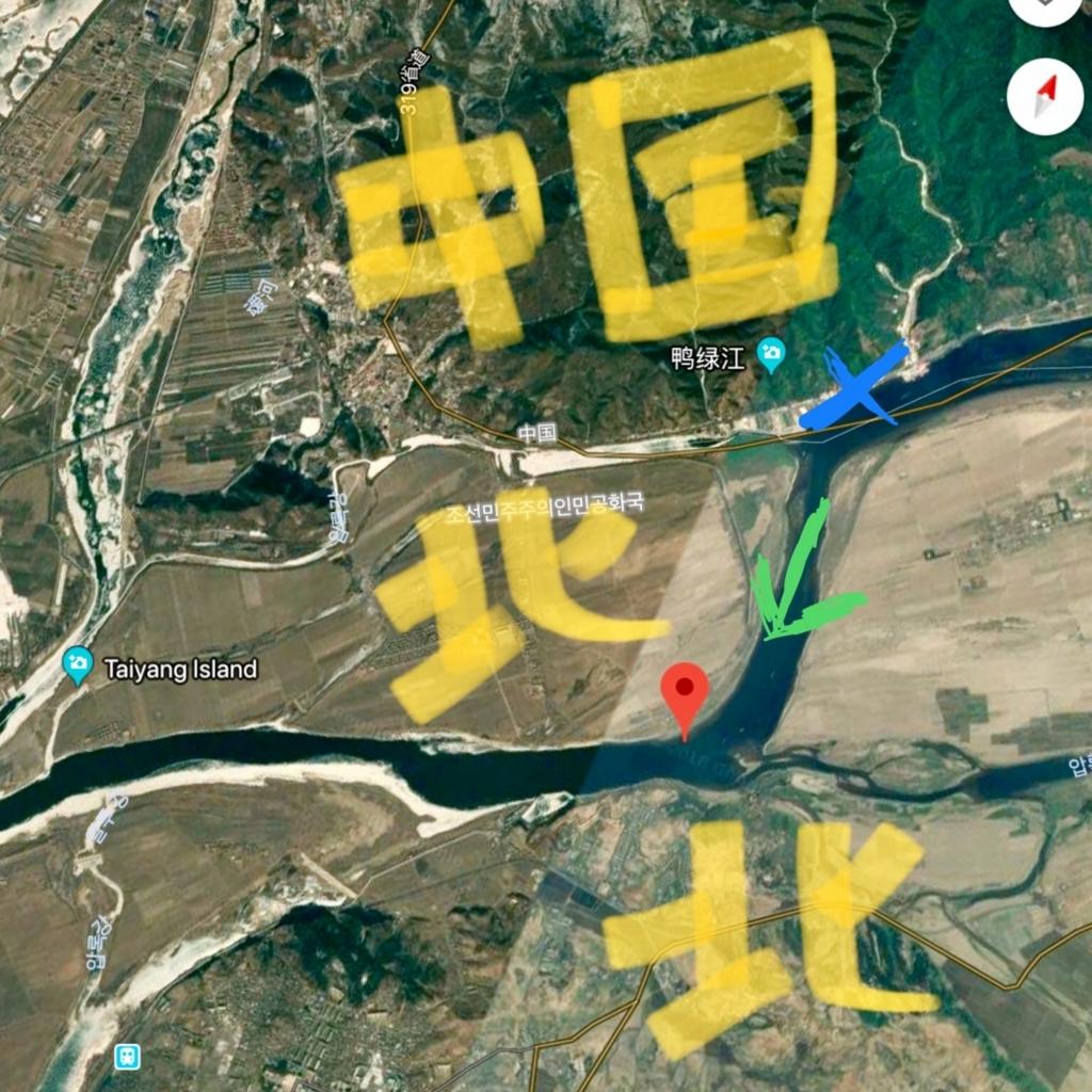北朝鮮遊覧のコースを説明する地図