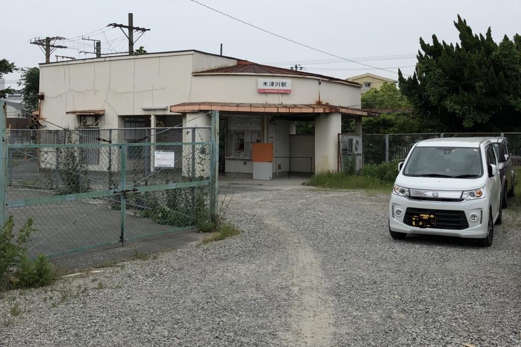 正面から見た木津川駅。舗装がされてない
