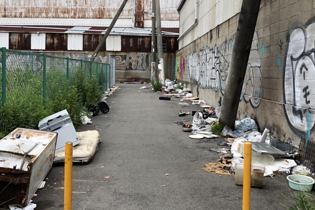 ゴミだらけの木津川駅前