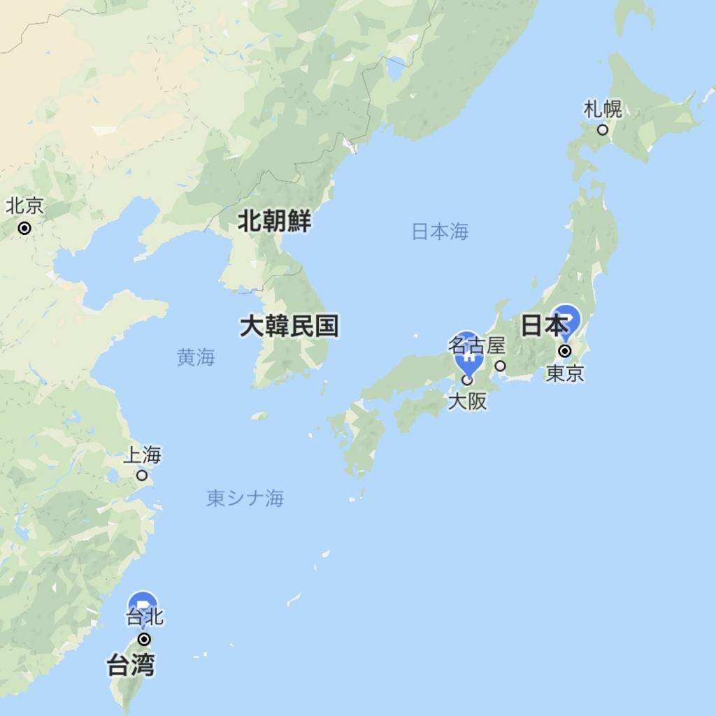 韓国とその周辺の地図