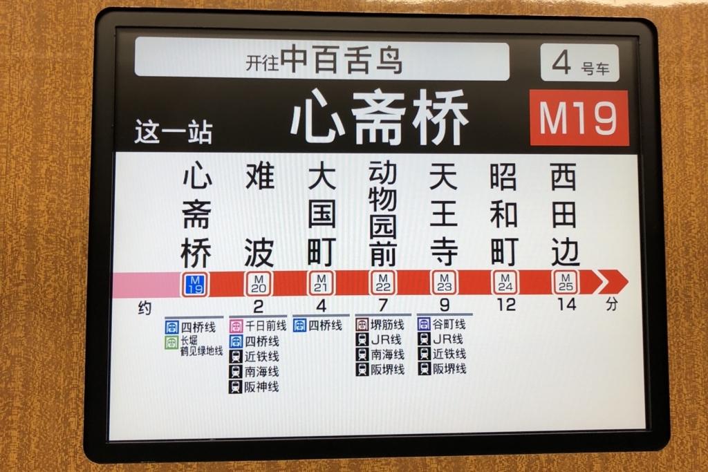 地下鉄車内のディスプレイに表示された中国語