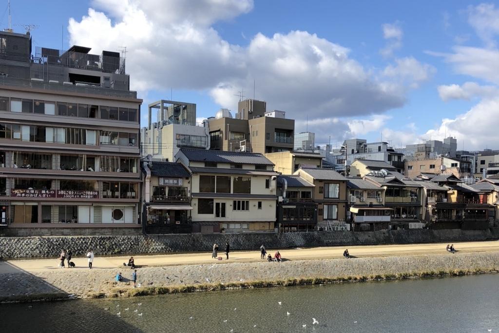京都の鴨川の様子