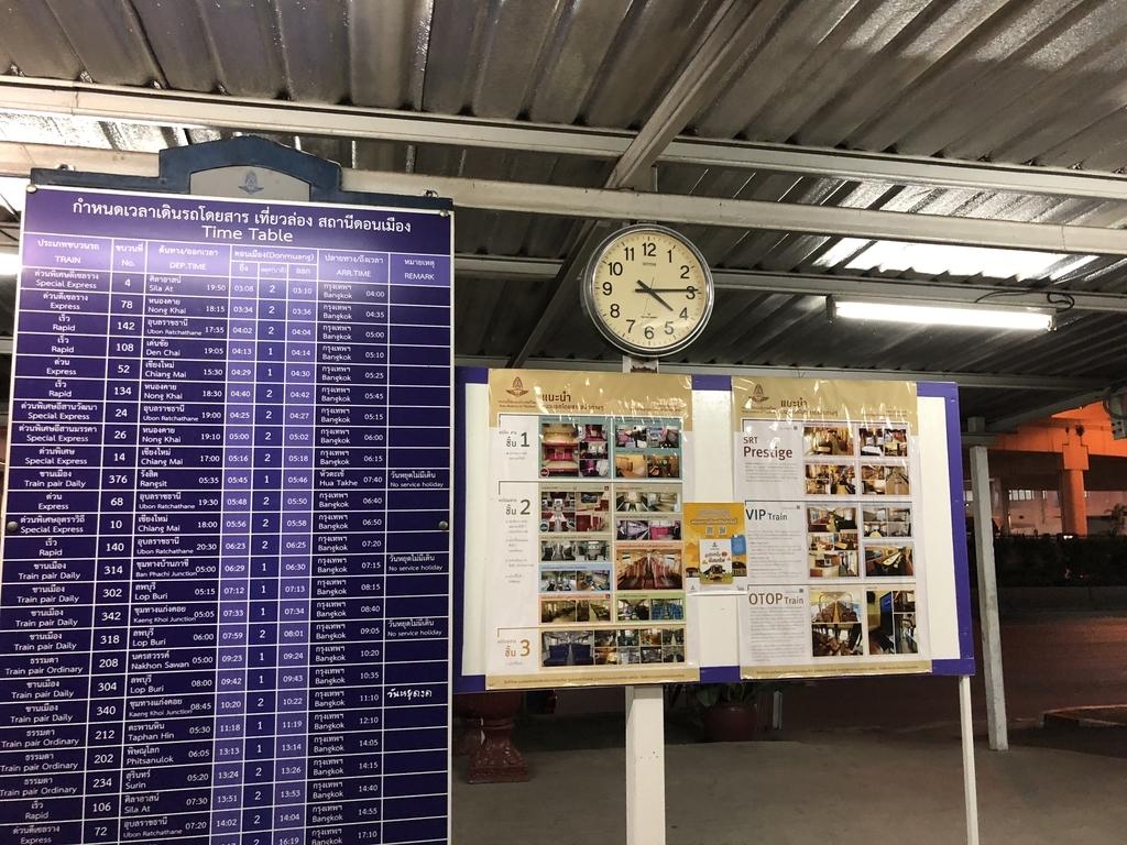 ドンムアン駅ホーム上の時刻表