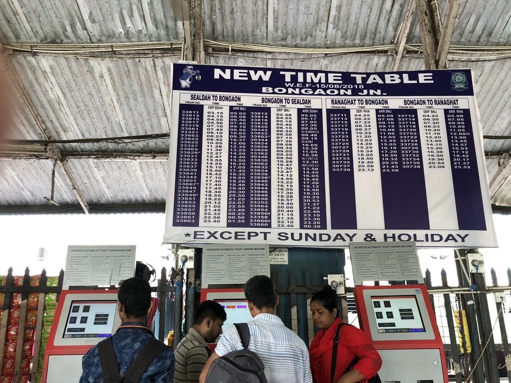 インドの鉄道駅に掲示された時刻表