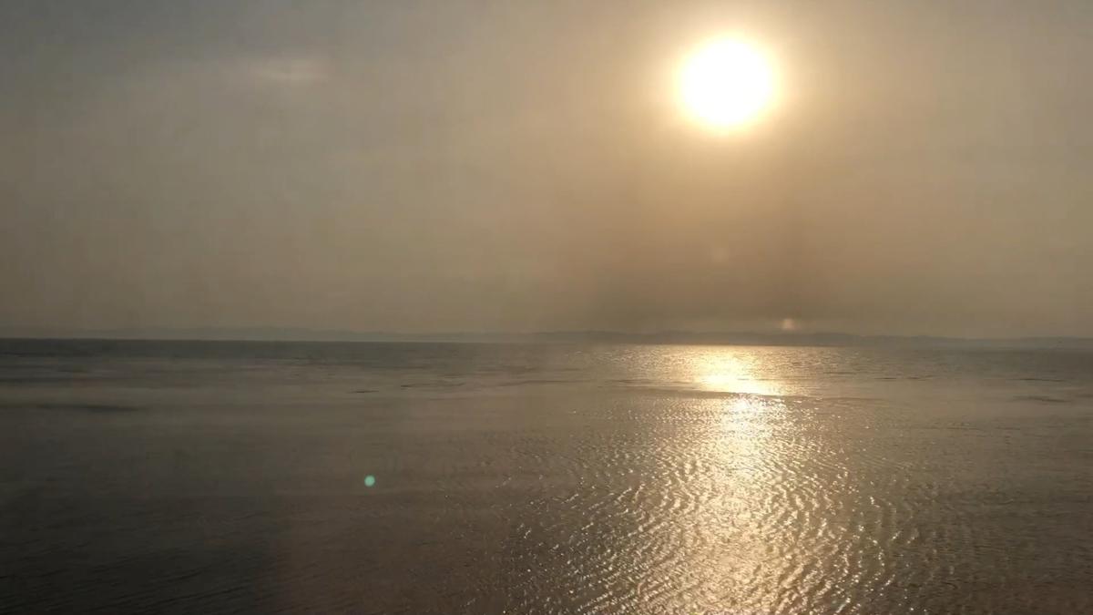 サハリン鉄道から見た夕日