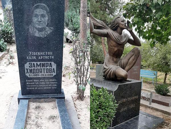 おばあさんのお墓(左)とザキロフのお墓(右)