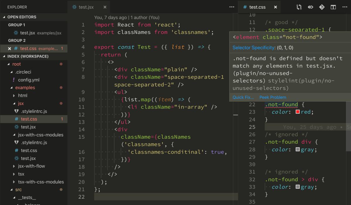 stylelint-no-unused-selectorsによりエディタで未使用CSSが検出されている様子
