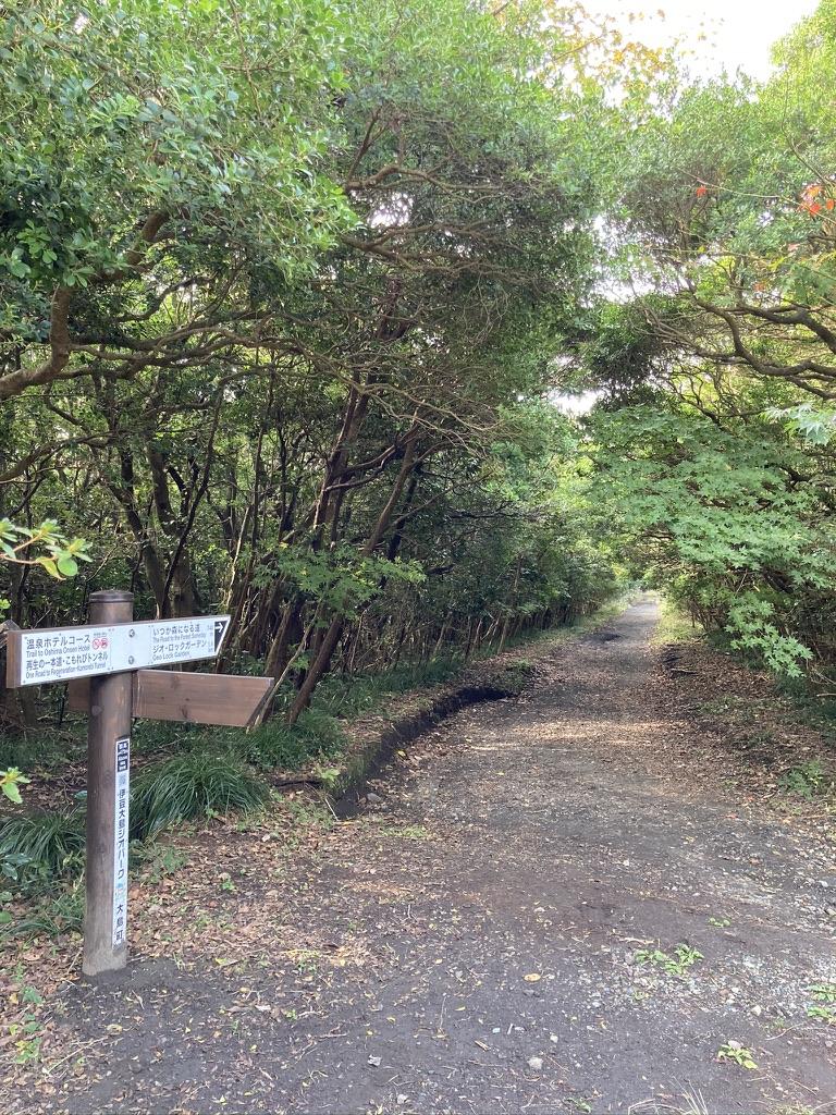 温泉コースの看板と木漏れ日コースの入り口