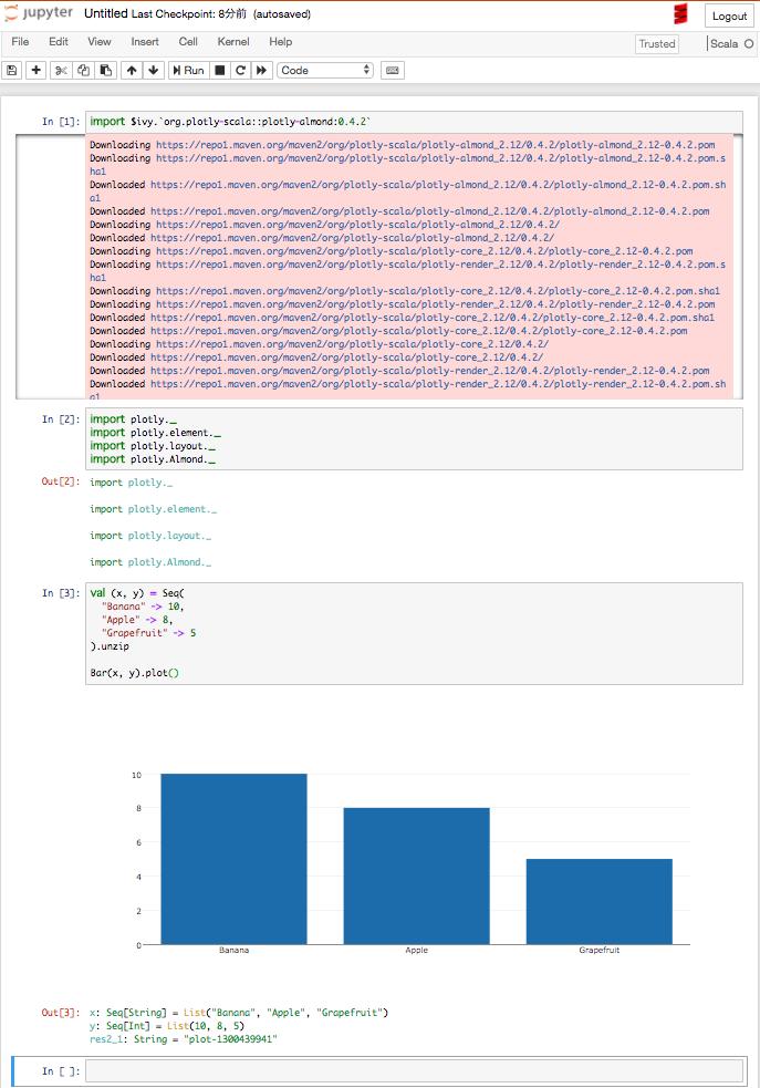 JupyterNotebook + almondで Scala 環境を構築する - ぶらっ記ぃ