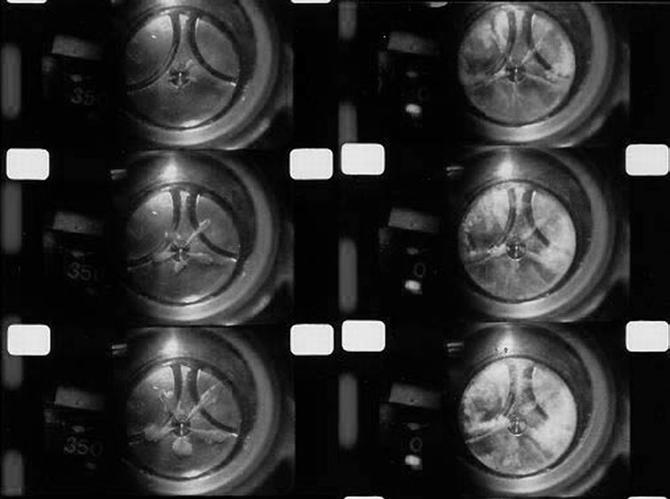 レーザー光による高速撮影(ディーゼルエンジン燃焼)