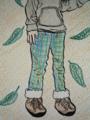 フード配色パーカ&裾ボア付きパンツ♪(Color Version)