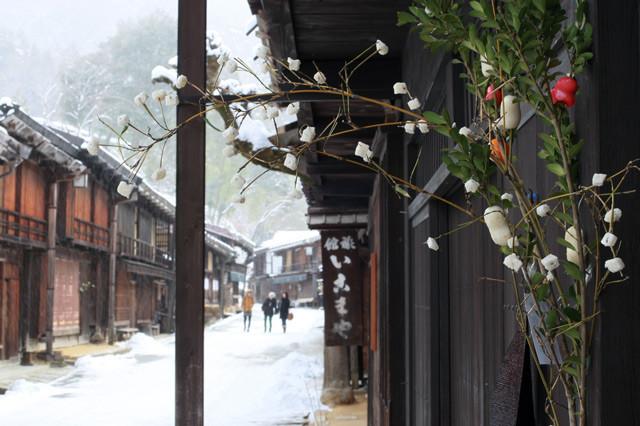 [妻籠宿][繭玉][正月飾り][冬]