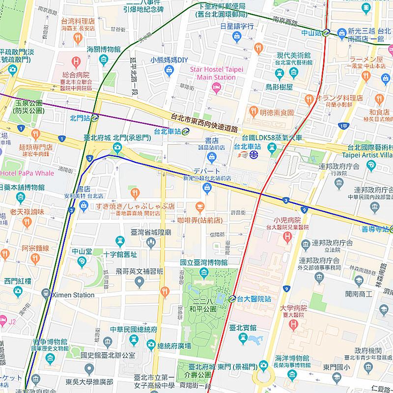 台北:二二八和平公園(MRT紅線、台大醫院站下車)
