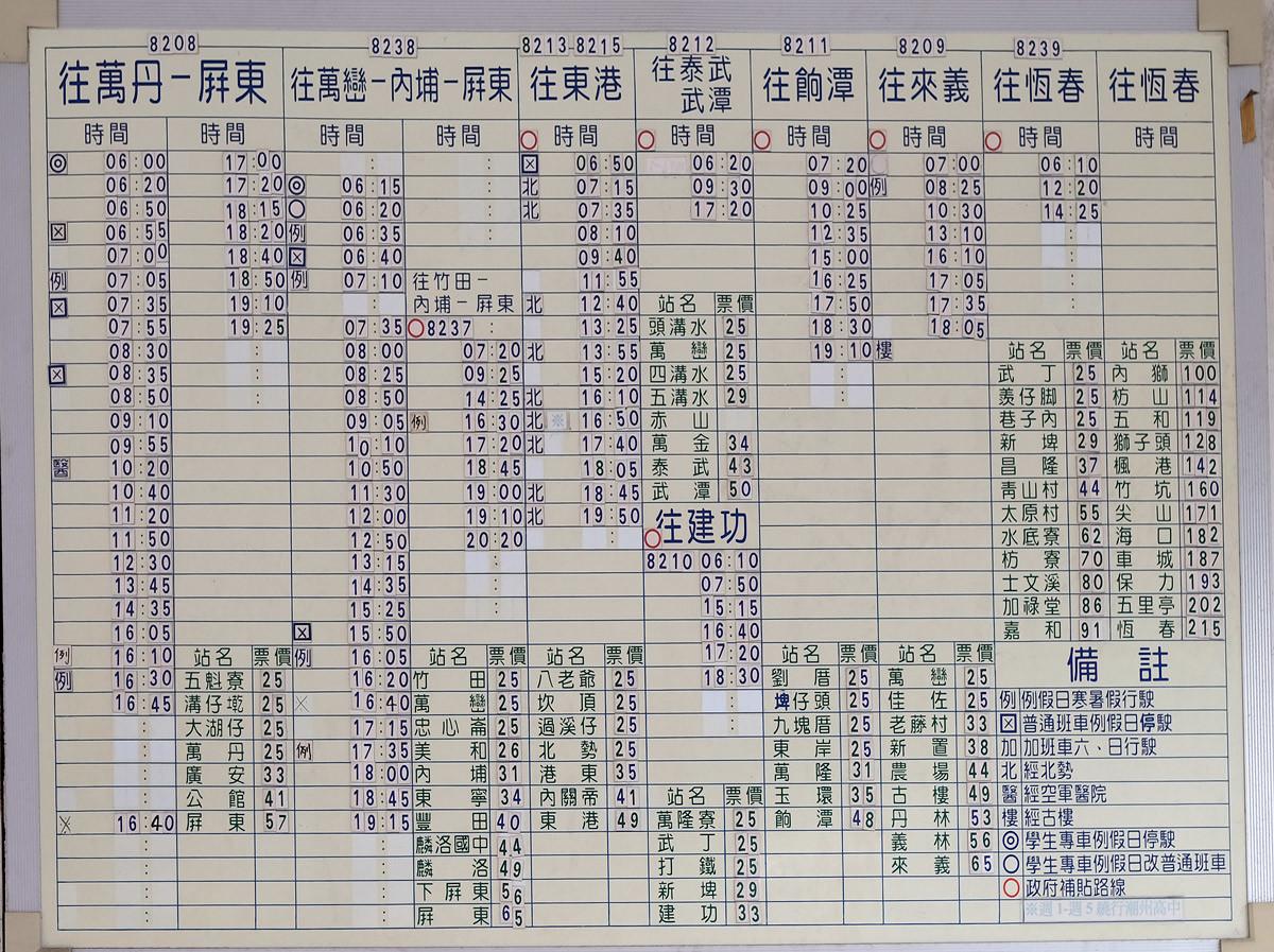 潮州轉運站の現在の時刻表