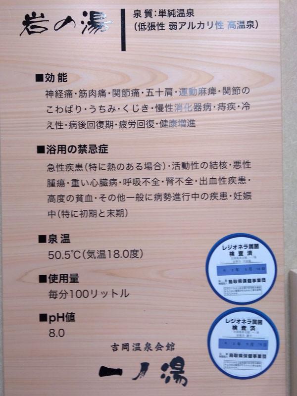 熱めのお湯 湯船は45度くらい、吉岡温泉会館一乃湯