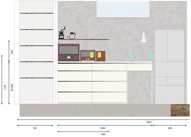 キッチン 背面収納 カップボード 図面