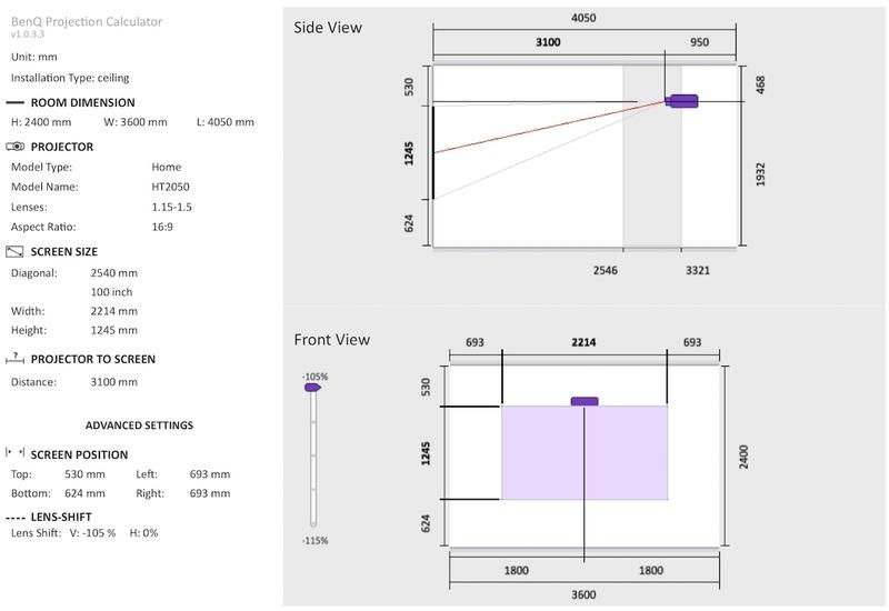 BenQ シミュレーション プロジェクター 投影距離