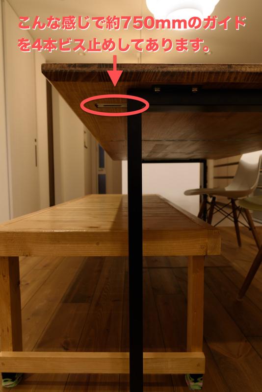 ダイニングテーブル DIY 反り止め ガイド ビス止め