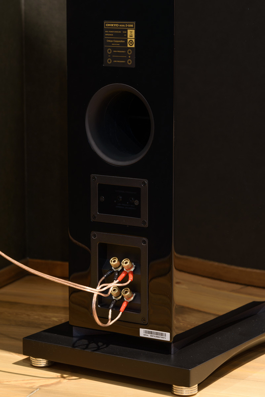 D-509  シアタールーム ホームシアター トールボーイ スピーカー ピアノブラック 低音調整用スポンジ バスレフポート 背面 バイワイヤリング ジャンパー線