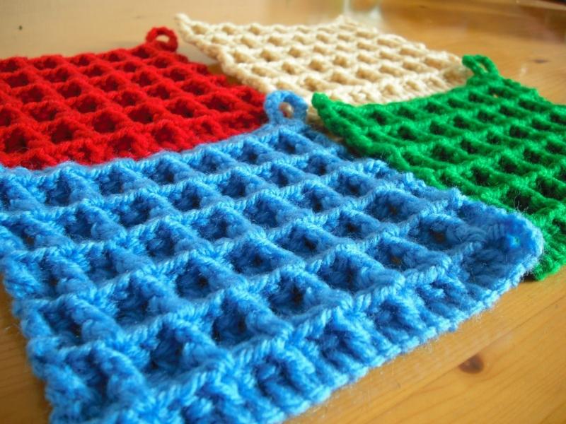 ワッフル編み