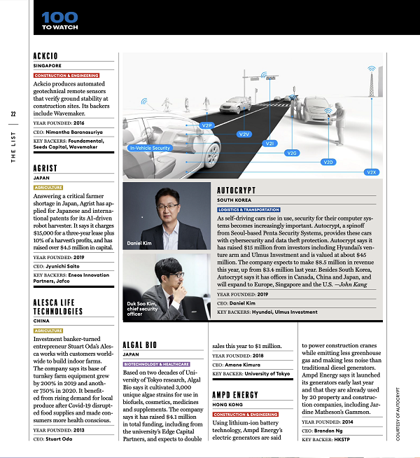 AUTOCRYPT 「Forbes Asia 100 to Watch」に選出