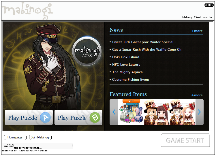 """Mabinogi """"Connect to Patch Server..."""""""