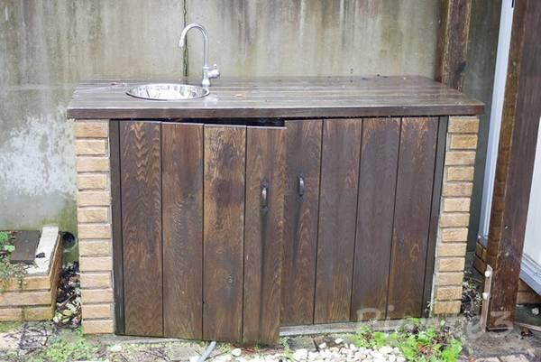 庭のガーデンシンクの洗浄前正面から汚れている