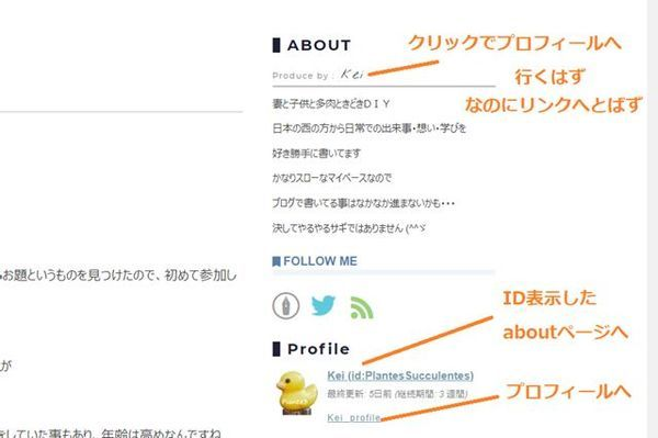 サイトTOPのサイドバープロフィールの画面
