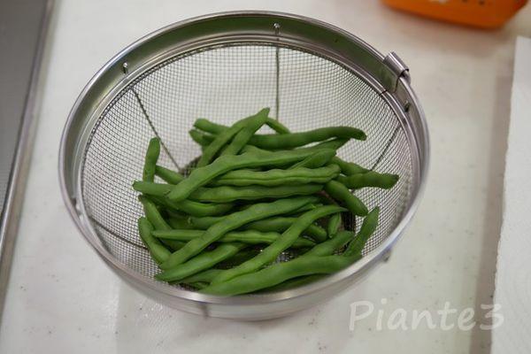インゲン豆を洗った所