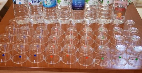 利き水用に準備したプラカップ