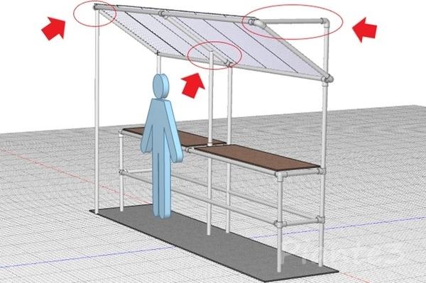 単管屋根控え柱のイラスト