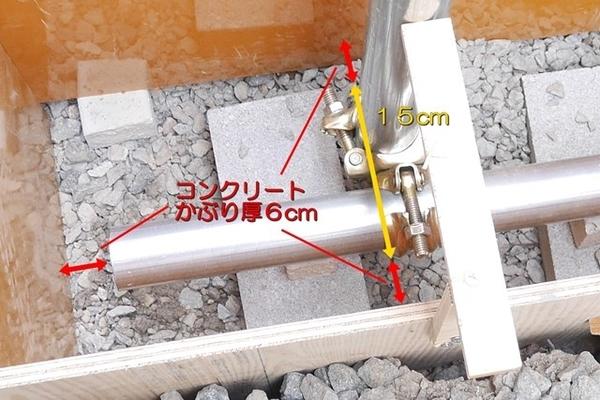 基礎に埋め込む単管クランプのコンクリートかぶり厚