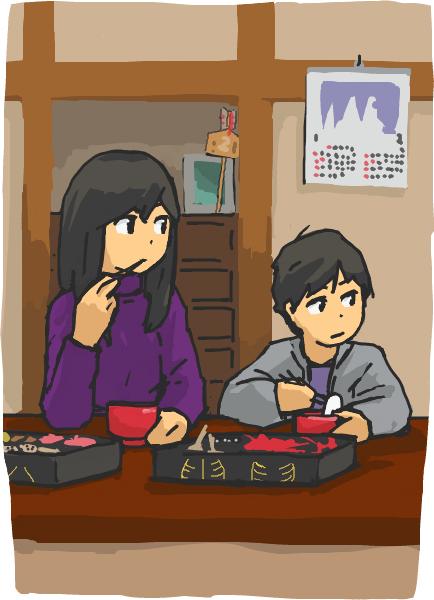 食事中の絵を描く