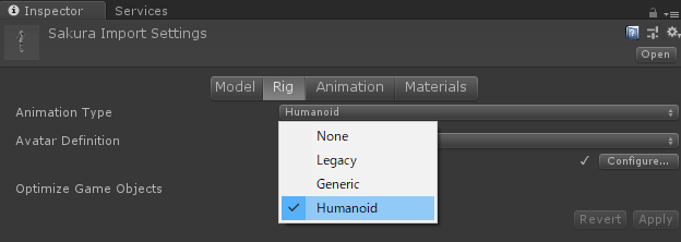 unity humanoid and generic その1 qgate4