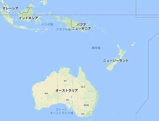 オーストラリアとNZの位置 私の記憶から