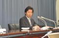 [日本]財政執行の抑制を口にする安住淳財務相(8月31日・財務省)
