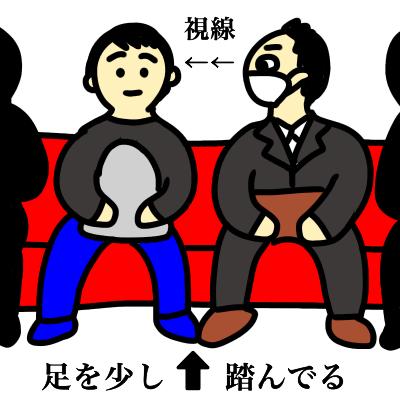 電車でぶつかりそうになりながら座った男性が隣の人の足を踏んでいる