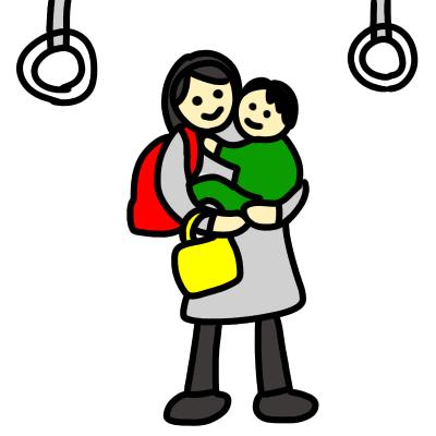電車内で子供を抱っこして立ちっぱなしの女性