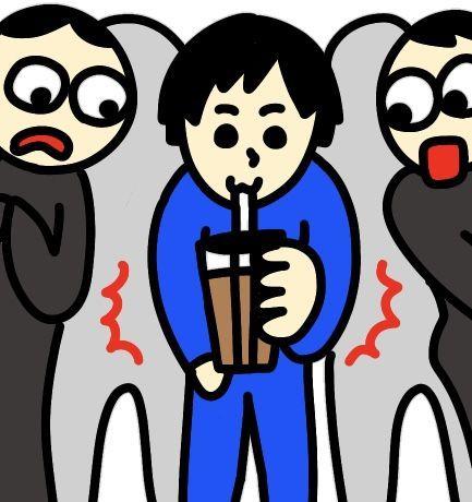 満員電車で飲食をする悪いマナーの男性