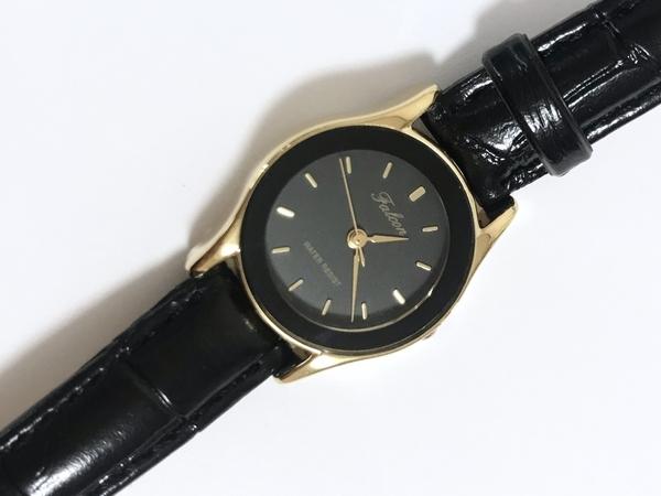 シチズンQ&Q腕時計QA37-102レディースの黒革