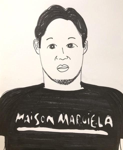 メゾンマルジェラTシャツを着た朝倉未来の似顔絵