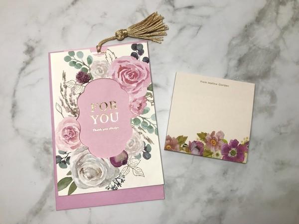 セリアの花柄メッセージカードと付箋