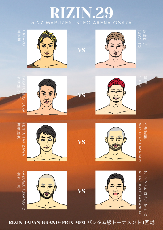RIZIN29大阪大会バンタム級トーナメント1回戦の対戦カードポスター