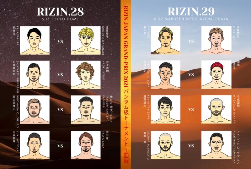 RIZIN28とRIZIN29のバンタム級トーナメント1回戦対戦カードのポスター