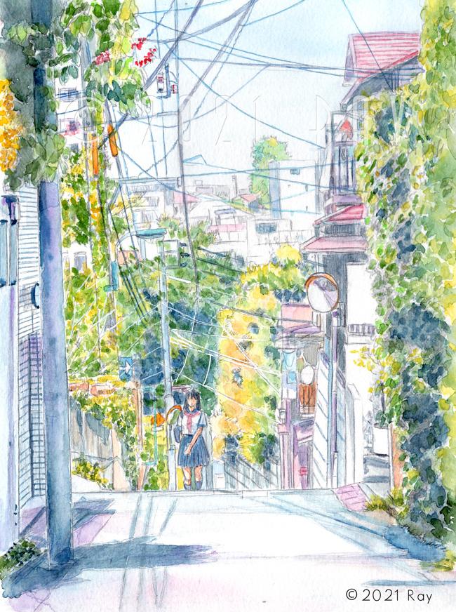 文京区本郷の坂道の風景画