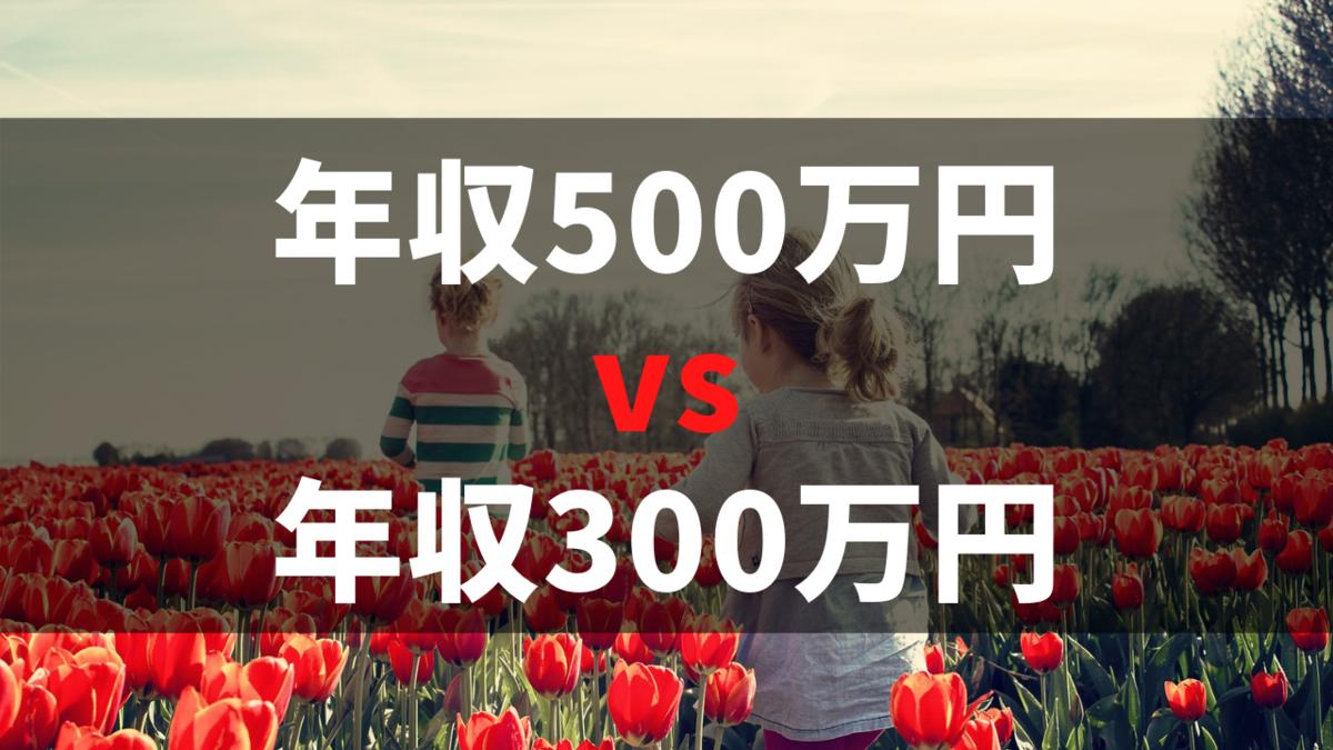 可処分所得の比較 年収500万円の人と300万円の人