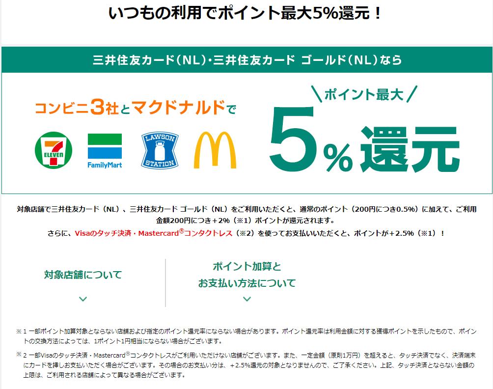 三井住友カード(NL)は、コンビニやマクドでの還元率が最強①