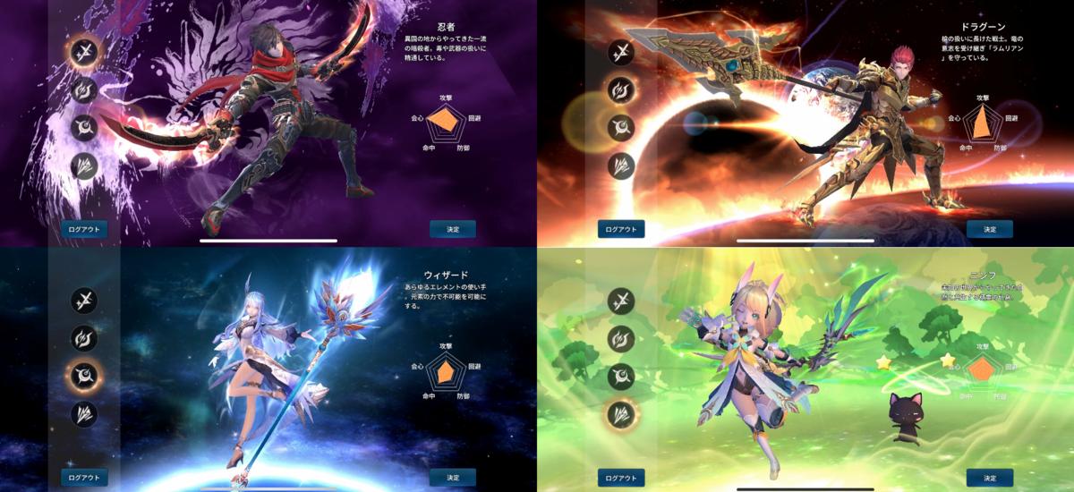 幻想神域2の4つの職業