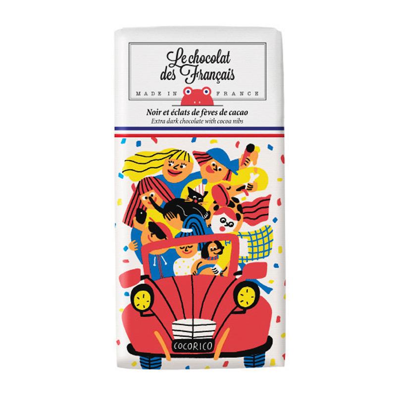 【Le chocolat des Francais】「2CV/ダーク・カカオニブ(カカオ71%) 80g チョコレート フランス チョコ」
